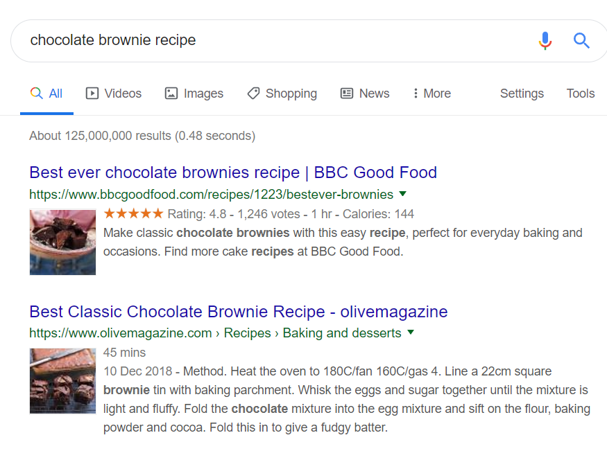 Optimised Search Result