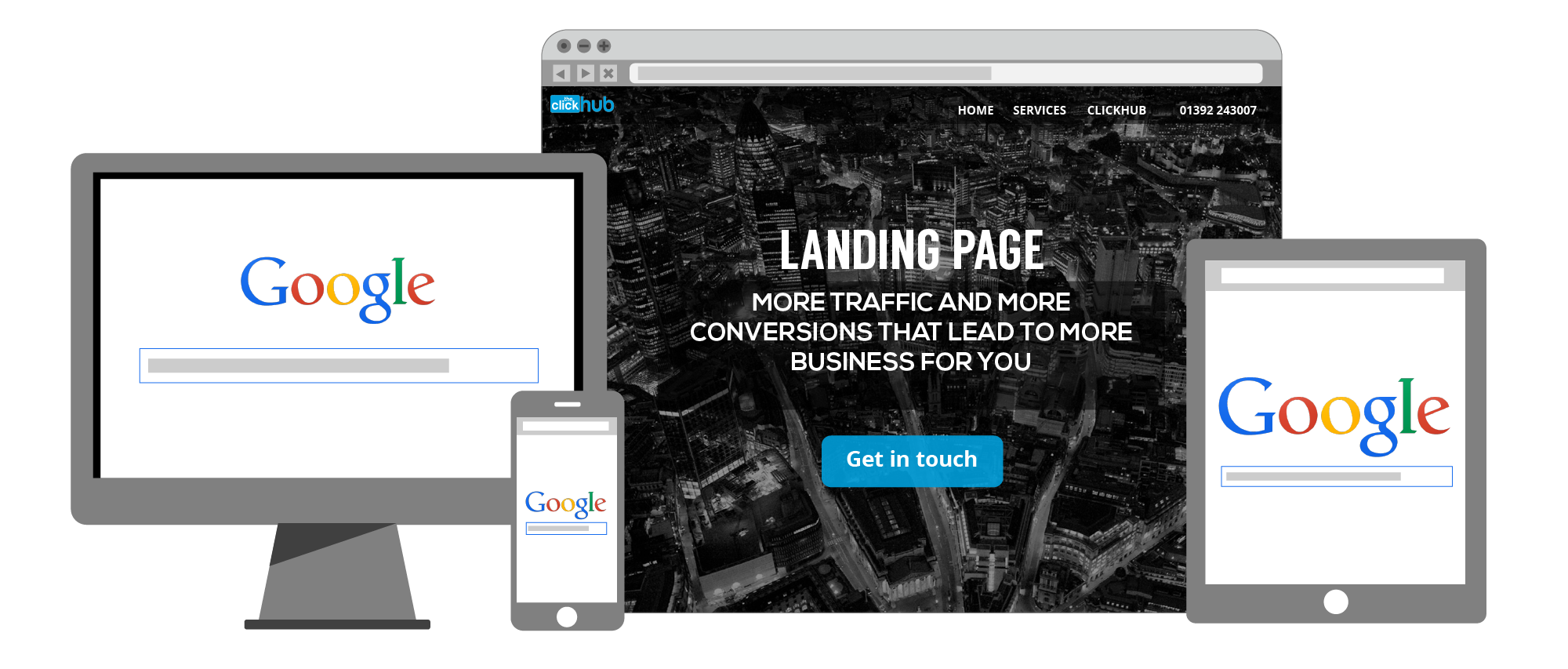 SEO services and SEO Exeter - graphic showing landing page