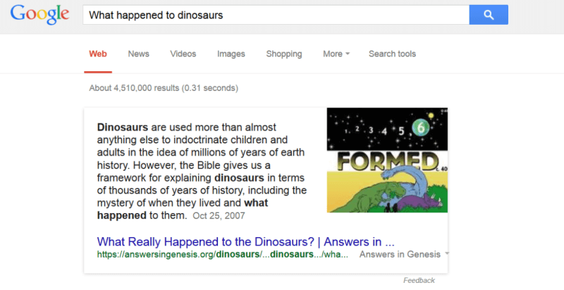 Screenshot of when Google Mistakes Dinosaurs