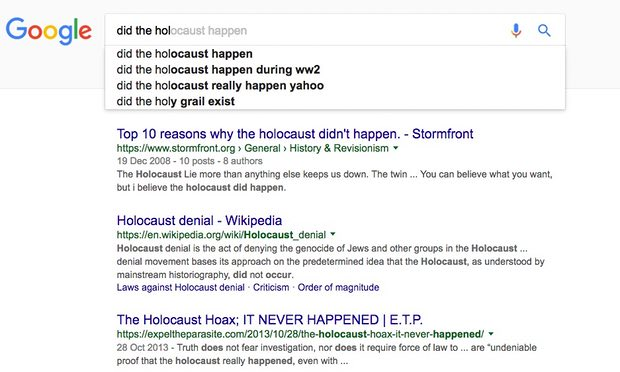 Screenshot of Google Mistakes in search