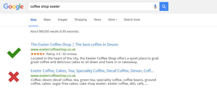 An example of how to improve your Google local ranking with good meta data and content