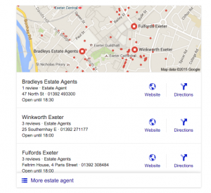 Google snack pack results for 'estate agent exeter' at the time of publication