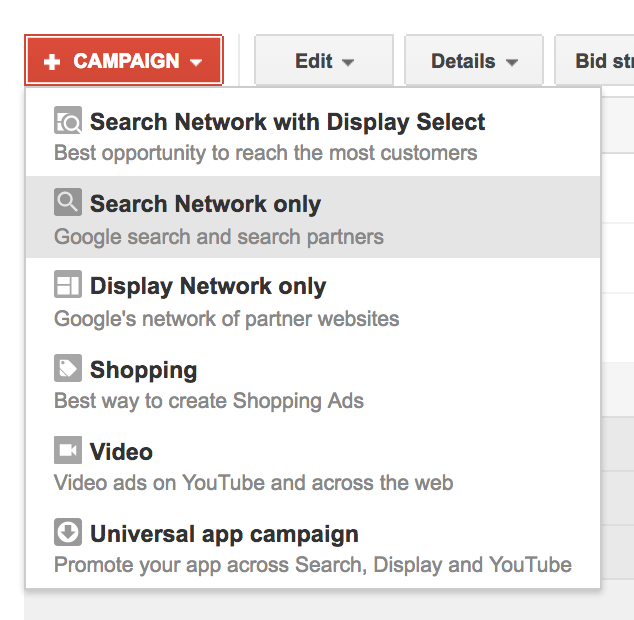 Screenshot of adwords call only campaign set up