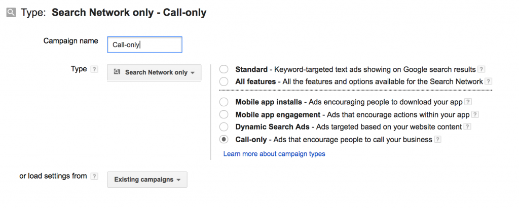 Screenshot of adwords call only-campaign set up