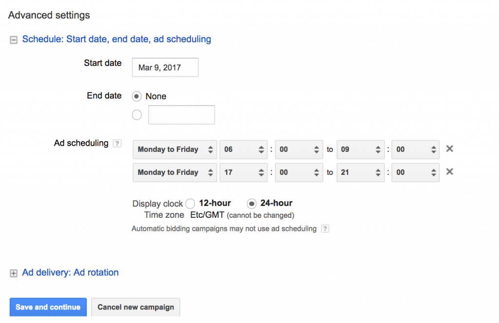 Screenshot of adwords call-only campaign set up