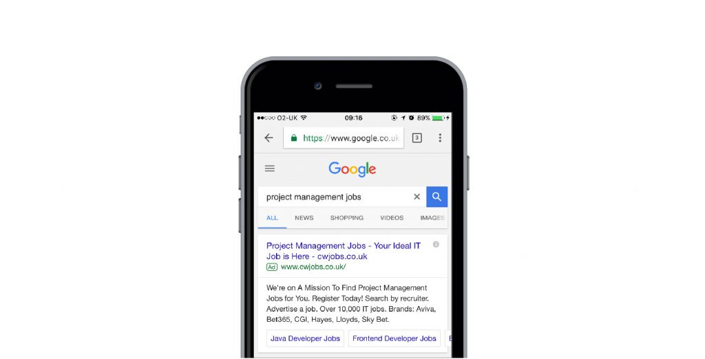 Mobile Search Ads SERP example