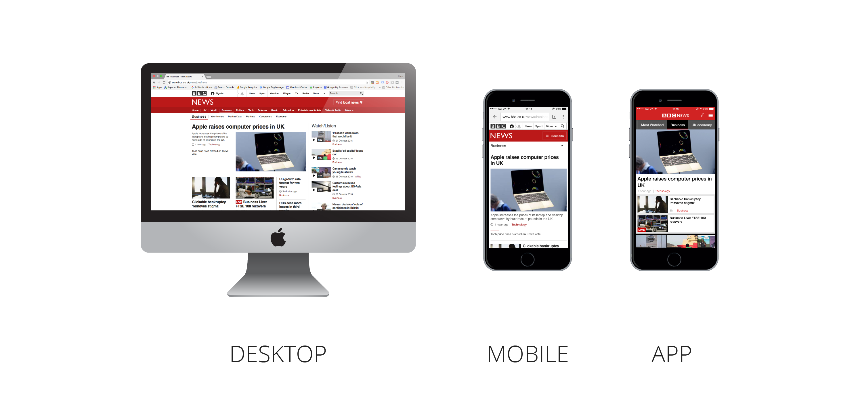 desktop versus app - optimise for mobile