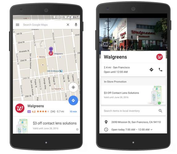 Google Maps ads on mobile