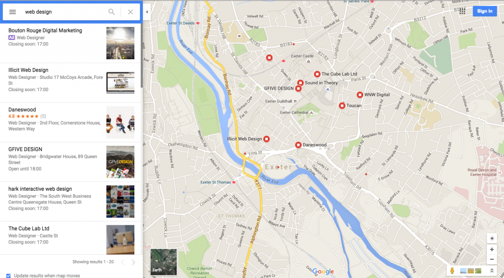 Google maps ads for web design