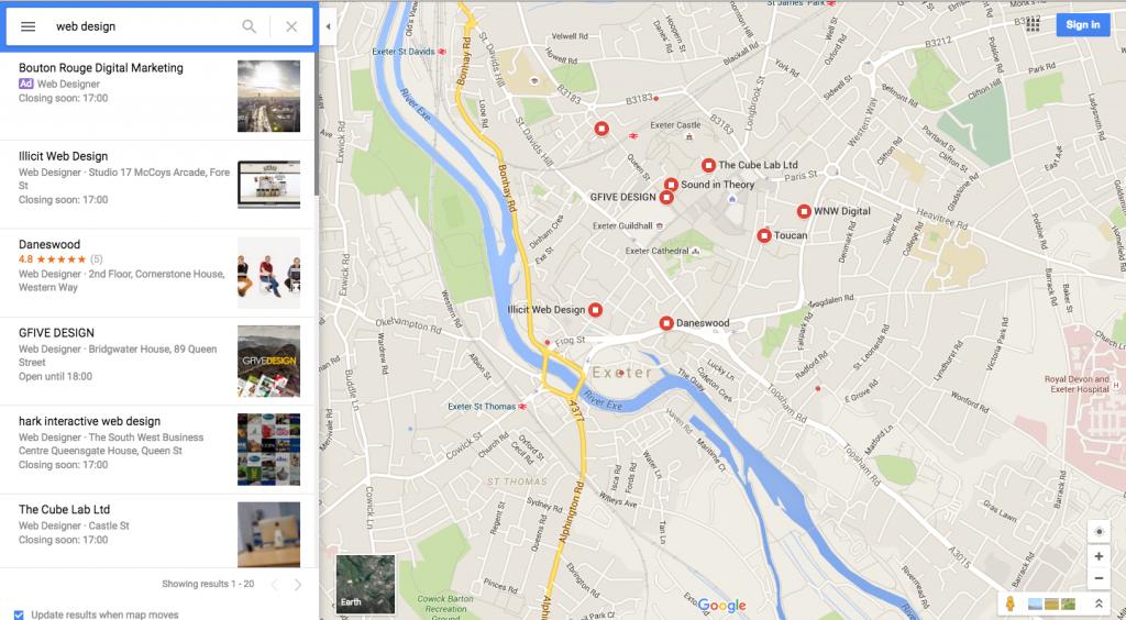 Google maps ads for web design