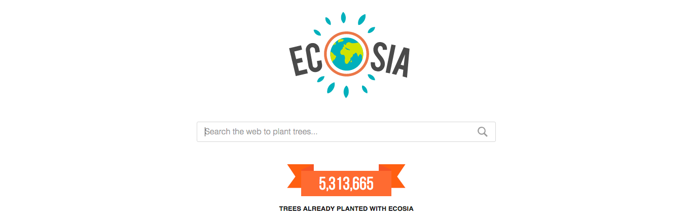 The search engine that plants trees - screenshot of Ecosia homepage
