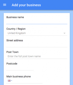how to set up google my business add info screenshot