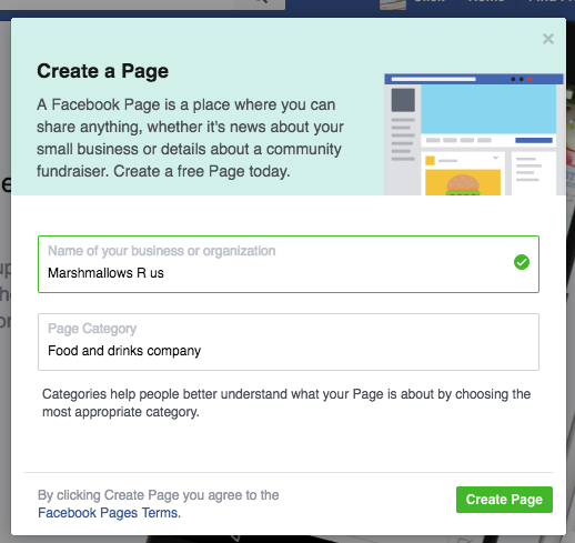 How to set up a business facebook page screenshot