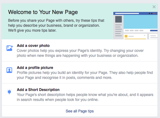 How to set up a business facebook page screenshot of welcome