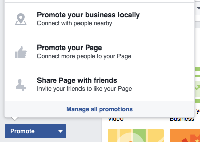 How to set up a business facebook page screenshot of promoting