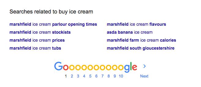 how to find keywords screenshot of Google