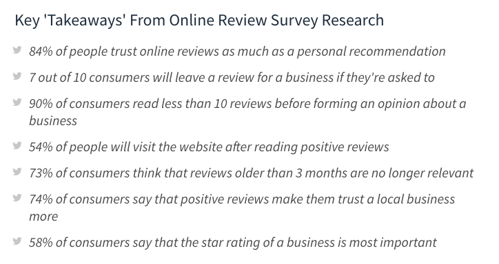 Screenshot of stats about how to get google reviews for your business