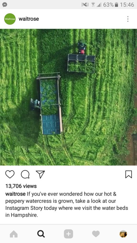 screenshot of Waitrose Instagram advertising campaign