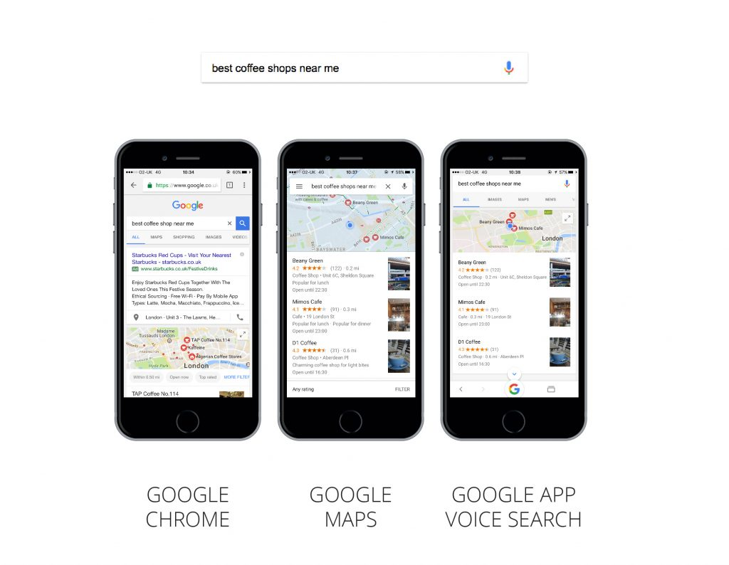 SEO voice search trends - example on smartphone